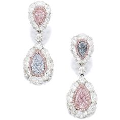 Pair of Coloured Diamond and Diamond Pendent Earrings | lot |... ❤ liked on Polyvore featuring jewelry, earrings, diamond earrings, wine jewelry, diamond earring jewelry, diamond jewellery and diamond jewelry