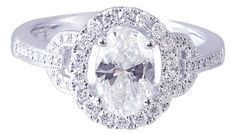 18k white gold oval cut diamond engagement ring art deco by KNRINC, $4299.00