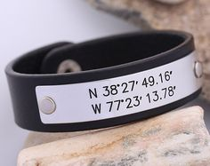 Hey, I found this really awesome Etsy listing at https://www.etsy.com/listing/200679849/gps-coordinates-leather-bracelet