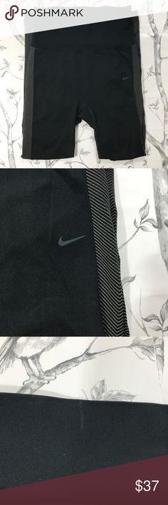 """Nike Dri-Fit Workout Athletic Train Legging Pants Pre-loved Nike Dri-Fit Workout Athletic Training Legging Pants. Size M. Waist 30"""" Rise 39"""" Inseam 26.75"""" 79% poly/ 17% nylon/4% spandex. Wide waistband. Diagonal design down the sides. Polka dot pattern on the back of calf area. Textured fabric on the back of the knees. Skinny leg. Good condition aside from small mark on waistband (see photo). Great leggings/pants for working out, athletic adventures, or hanging out with bae. Reasonable…"""