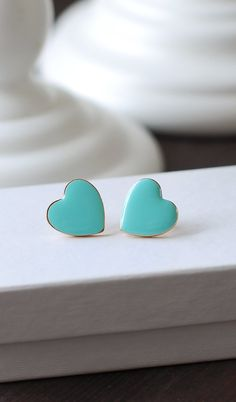 https://www.etsy.com/shop/LeChaim  Heart Stud Earrings, Robin Egg Blue Tiffany Blue Heart Post Earrings. 18K Gold plated Enamel Heart Earrings Valentine's Day Gift by LeChaim