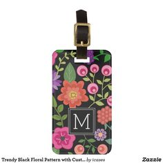 Trendy Black Floral Pattern with Custom Monogram Luggage Tag - tap, personalize, buy right now! Personalized Luggage Tags, Custom Luggage Tags, Standard Business Card Size, Monogram Gifts, Card Sizes, Cute Designs, Decoration, Art, Monograms