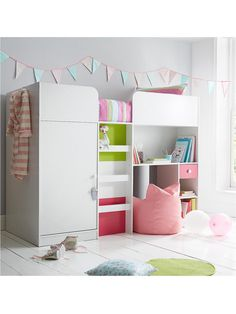 Ladybird Orlando Fresh Mid Sleeper Bed with Built-In Wardrobe and Desk | woolworths.co.uk