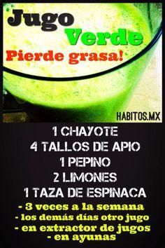 Jugo verde PIERDE GRASA: chayote, apio, pepino, limones y espinacas