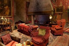 Griffindor Common Room: I would love to have a library in my house designed just like this.