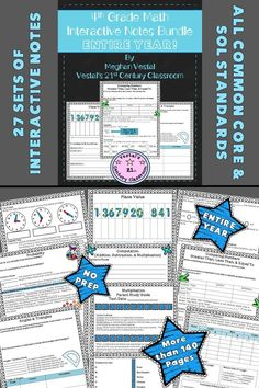 4th-Grade Math Interactive Notebook comes with more than 140 math worksheets used to teach and practice 4th-grade math skills. All Common Core standards and Virginia SOLs are covered. #vestals21stcenturyclassroom  #4thgrademath  #4thgrademathinteractivenotebook #4thgrademathworksheets #commoncoremath #virginiastandardsoflearning