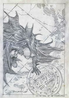 Bernie Wrightson's rough cover art for Batman The Cult