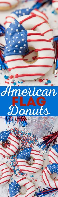 These are AMAZING for 4th of July - American Flag Donuts!!
