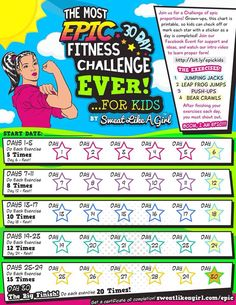30 Day Fitness Challenge for Kids! ⋆ Sweat Like A Girl, Lehigh Valley Women's Fitness - 30 Day Fitness Challenge for Kids! 30 Day Fitness, Family Fitness, Kids Fitness, Fitness Games, Gym Workouts, At Home Workouts, Workout Diet, Killer Workouts, Best Inner Thigh Workout
