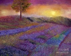 Landscape Painting - Lavender Dreamscape by Loretta Luglio