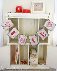 Make this gorgeous wooden LOVE garland with a Recreated Designs Pattern and show your love all year long. Fun Easy Crafts, Crafts To Make, Craft Tutorials, Craft Projects, Wood Projects, Craft Ideas, Make Your Own Sign, How To Make, Home Decor Items