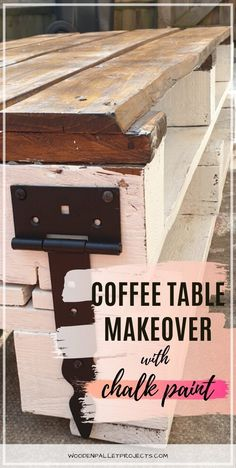 Check this post out for a quick pallet coffee table makeover with chalk paint. Easy furniture makeover that I did to my upcycled coffee table in one afternoon. Check how I got this distressed look using paint on wood so you can do it too! #coffeetablemakeoverchalkpaint #upcycledpalletcoffeetable #distressedlook Wooden Pallet Projects, Diy Furniture Projects, Easy Diy Projects, Furniture Makeover, Upcycling Projects, Woodworking Projects, Weathered Furniture, Painted Furniture, Coffee Table Makeover