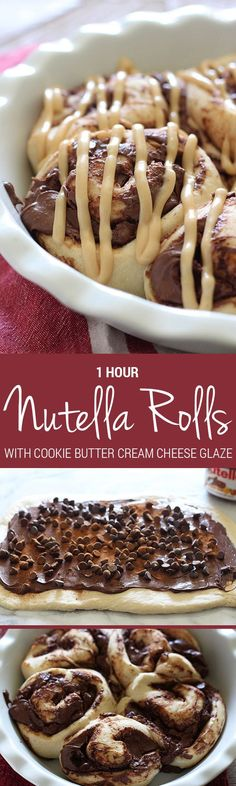 Nutella Rolls with Cookie Butter Cream Cheese Glaze are 1 hour sweet rolls stuffed with Nutella and chocolate and topped with a cookie butter glaze. Outrageously good!