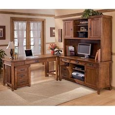 Nebraska Furniture Mart – Ashley 5 Piece L-Shape Office Desk Unit with Hutch & File Cabinet