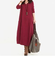 Women Cotton Linen Dress Loose Dress Autumn Dress Long Sleeve Dress Large Size Dress