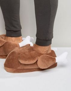 ASOS - Pantofole marroni stile tacchino di Natale