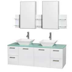 "Wyndham Collection Amare 60"" Wall-Mounted Double Bathroom Vanity Set with Vessel Sinks - Glossy White WC-R4100-60-WHT-DBL"