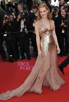 Jessica Chastain fell back into her fashion groove this weekend.    The redhead looked positively radiant at the Cannes Film Festival premiere of Lawless in a gold Gucci Premiere gown, Jimmy Choo sandals and Chopard jewelry.