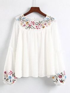 Shein Embroidered Detail Lantern Sleeve Blouse