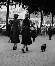 "Francesc Català-Roca / ""Plaza de Cataluña en verano (Barcelona)"", ca. 1950"