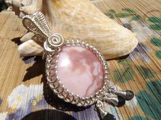 Pink+Peruvian+opal+gemstone+wire+wrapped+pendant+by+catinalife