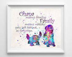 Lilo and Stitch Quote Lilo and Stitch Print Ohana von InkistPrints