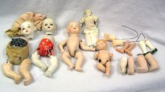Vintage Mixed Lot of Bisque and Compo Babies and Other Dolls for Repair and Parts by MermeowTreasures on Etsy