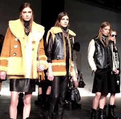 #NYFW Coach FW 2015- Stunning outerwear pieces from #Coach! Loving all the shearling & leather combos! #fashion #fall #NYFW15