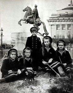 The Romanov children, four daughters and son of Tsar Nicolas II.