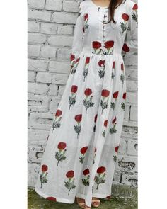 Red flower block printed maxi dress with lining