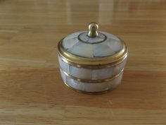 Vintage Brass and Mother of Pearl Round Trinket Jewely Box with Lid by jandhcollectibles on Etsy