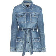 Saint Laurent Denim Jacket ($1,380) ❤ liked on Polyvore featuring outerwear, jackets, denim, blue, blue jackets, yves saint laurent, blue jean jacket, jean jacket and denim jacket