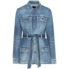 Saint Laurent Denim Jacket (1'370 CHF) ❤ liked on Polyvore featuring outerwear, jackets, blue, jean jacket, blue denim jacket, yves saint laurent jacket, yves saint laurent and denim jacket