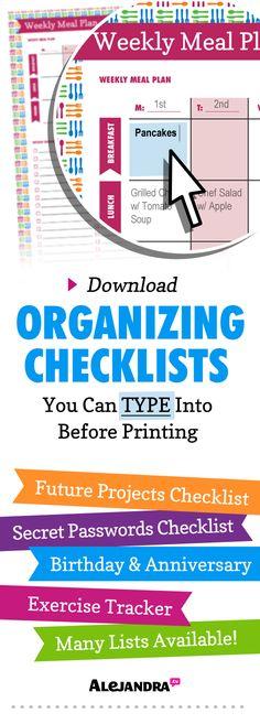Printable Checklists & Calendars
