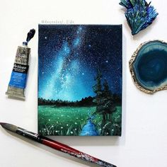 Landscape Painting Milky Way Space Art Oil Painting