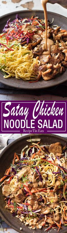Chicken Noodle Salad I am officially obsessed! The peanut satay dressing is INCREDIBLE!I am officially obsessed! The peanut satay dressing is INCREDIBLE! Comida Kosher, Asian Recipes, Healthy Recipes, Chicken Satay, Salad Chicken, Peanut Chicken, Chicken Meals, Chicken Broccoli, Chicken Curry