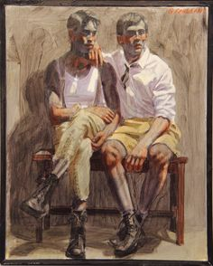 "Mark Beard: Bruce Sargeant (1898-1938)'s ""Two Boys Seated on a Bench"" (n.d.)"