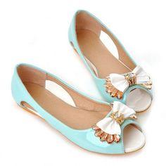 Aqua Bow Peep Toe Flats ☆