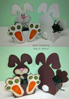"""Easter Baskets - pattern from My Scrap Chick """"Trio of Bunnies"""" Bunny Crafts, Easter Crafts, Crafts For Kids, Spring Crafts, Holiday Crafts, Easter Bunny, Easter Eggs, Easter Coloring Pages, Diy Ostern"""