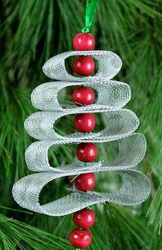 Ashbee Design: DIY Christmas Ornament Loop Tree with aluminum screening Christmas Ribbon Crafts, Vintage Christmas Crafts, Christmas Ornaments To Make, Christmas Art, Holiday Crafts, Christmas Holidays, Christmas Mantles, Diy Ornaments, Christmas Villages