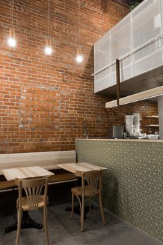 Lebanese snack bar and bakery in Montreal features an array of ash wood furniture
