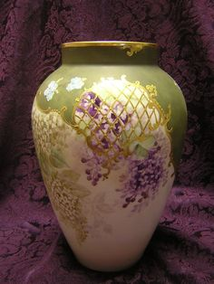 This exquisitely-painted Limoges porcelain vase is marked D & Co. (R. Delinieres & Co., later Bernardaud), mark used from 1879 to 1900.
