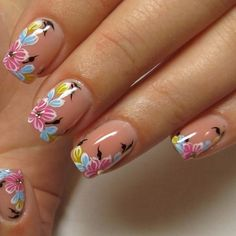 25 Trendy Floral Nail Art Designs for Summer Nail Art Designs, Flower Nail Designs, Nail Designs Spring, Fancy Nails, Cute Nails, Pretty Nails, Spring Nail Art, Spring Nails, Beautiful Nail Art