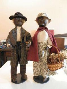 Man and Wife Black Americana wood dolls