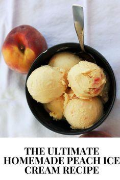 Cold Desserts, Frozen Desserts, Frozen Treats, Delicious Desserts, Peach Ice Cream Recipe, Sorbet Ice Cream, Fruit Ice Cream, Strawberry Ice Cream, Vanilla Ice Cream