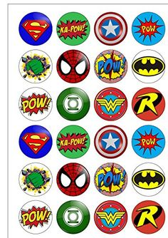 24 Precut 40mm Round Superhero Logo Themed Edible Wafer Paper Cake Toppers