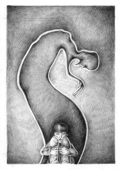 Fear - Emotion, illustration, black and white.