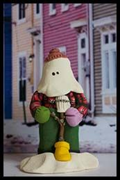 Mummer figurine with an ugly stick Christmas Crafts, Christmas Tree, Christmas Ornaments, Goose Bay, Polymer Clay Ornaments, Newfoundland And Labrador, Beautiful Places In The World, Throw Pillow Cases, Pebble Art