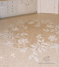 Custom Peony floor marble mosaic in Thassos, Botticino, and Breccia Oniciata Copyright New Ravenna Mosaics 2006 Marble Mosaic, Mosaic Tiles, Stone Mosaic, Ravenna Mosaics, New Ravenna, Flooring For Stairs, Shower Floor Tile, Fireclay Tile, Mosaic Crafts