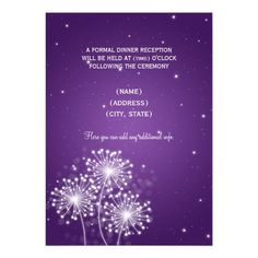 Elegant Reception Summer Sparkle Purple Custom Invite $1.70